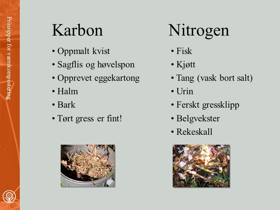 Karbon Nitrogen Oppmalt kvist Sagflis og høvelspon