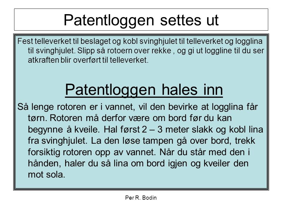 Patentloggen settes ut