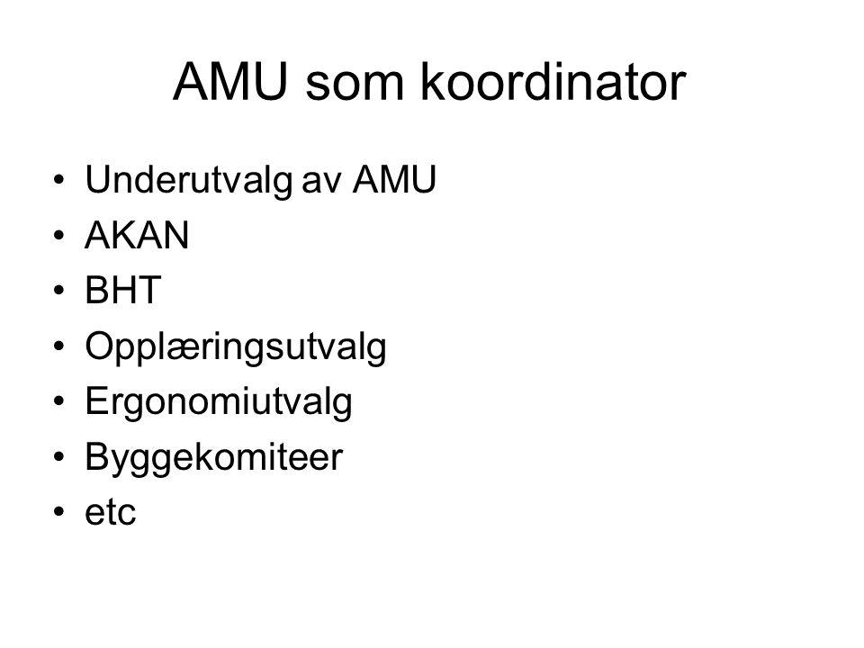 AMU som koordinator Underutvalg av AMU AKAN BHT Opplæringsutvalg