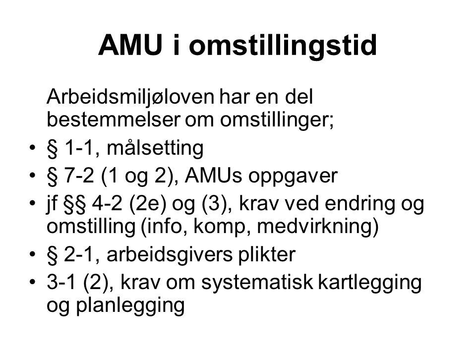 AMU i omstillingstid Arbeidsmiljøloven har en del bestemmelser om omstillinger; § 1-1, målsetting.