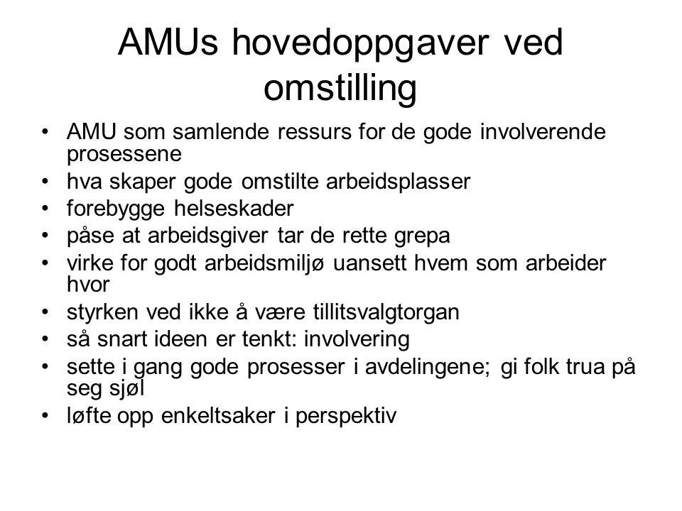 AMUs hovedoppgaver ved omstilling