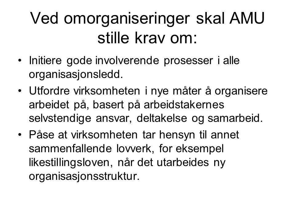 Ved omorganiseringer skal AMU stille krav om: