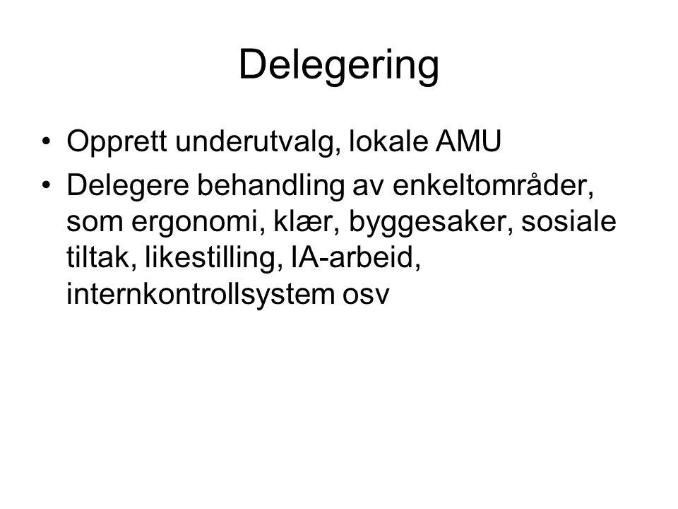 Delegering Opprett underutvalg, lokale AMU
