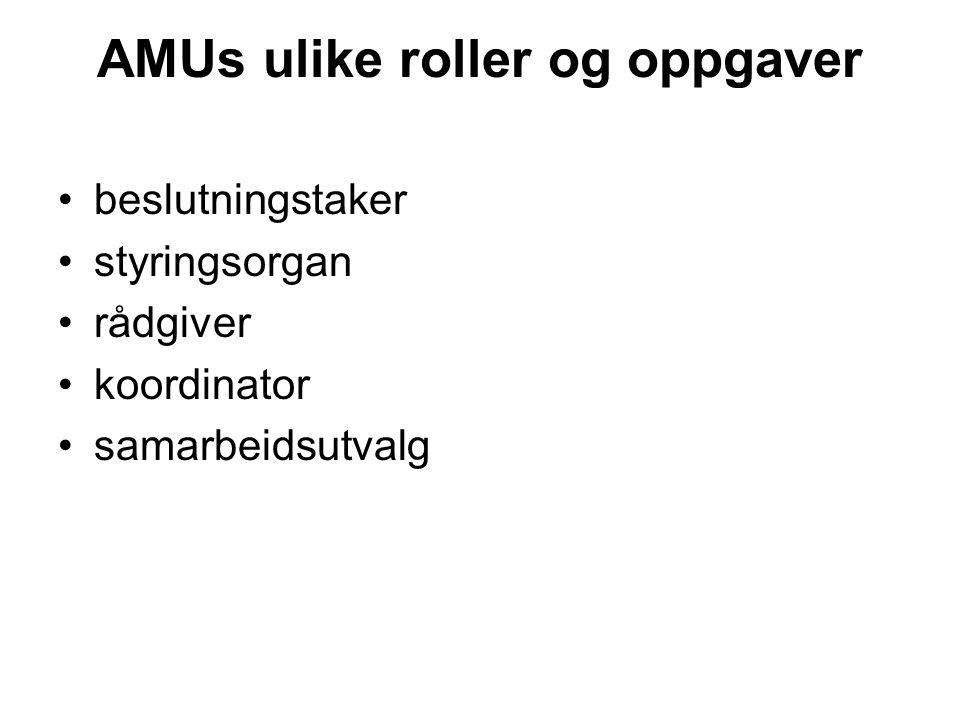 AMUs ulike roller og oppgaver