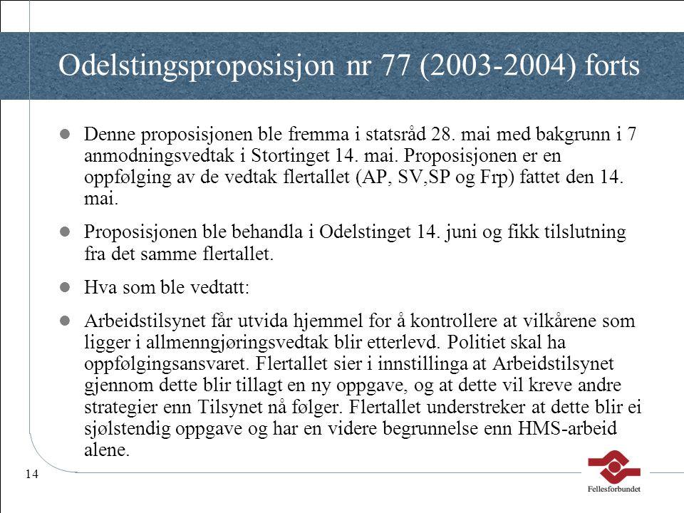 Odelstingsproposisjon nr 77 (2003-2004) forts