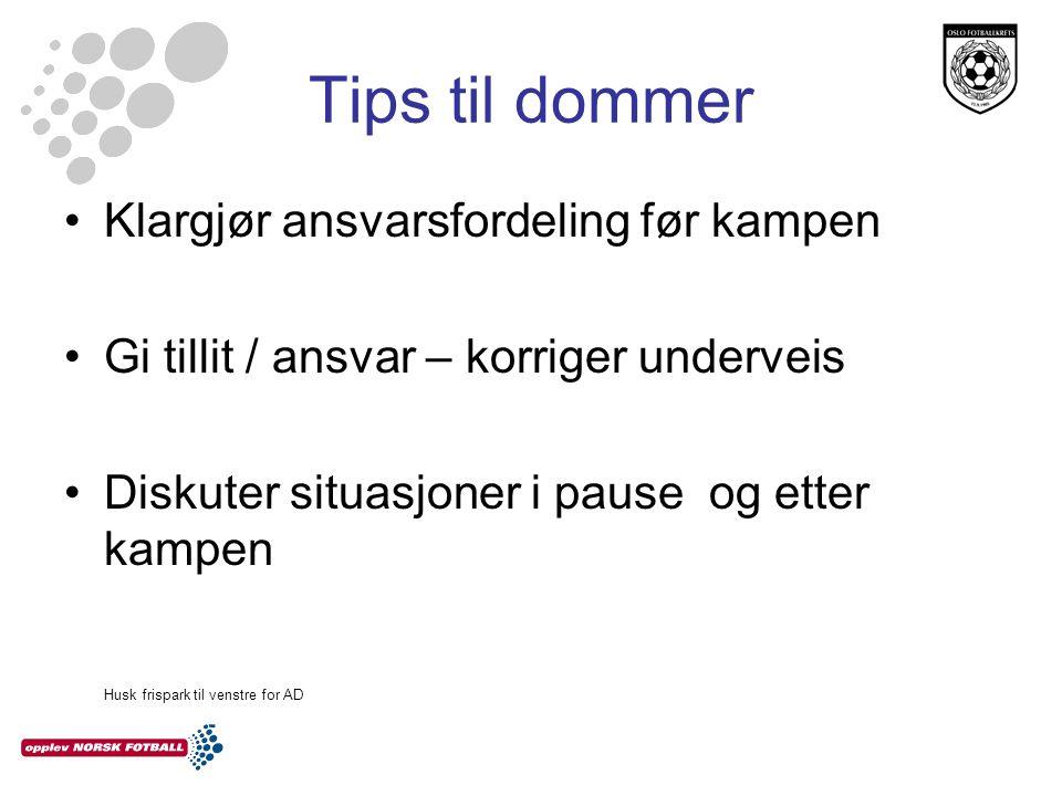 Tips til dommer Klargjør ansvarsfordeling før kampen