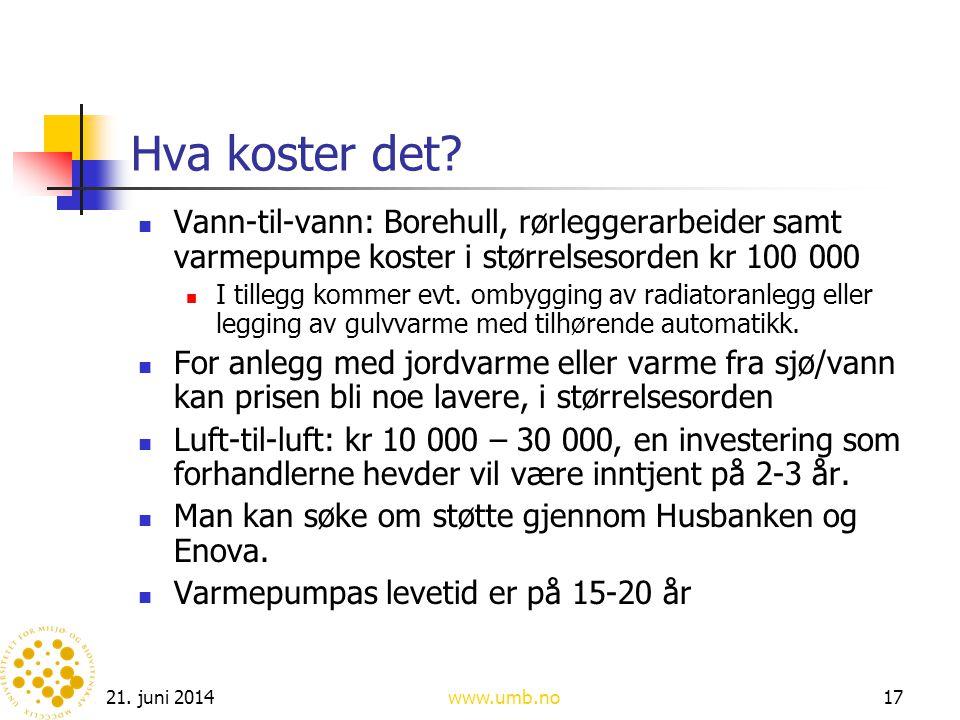 Hva koster det Vann-til-vann: Borehull, rørleggerarbeider samt varmepumpe koster i størrelsesorden kr 100 000.