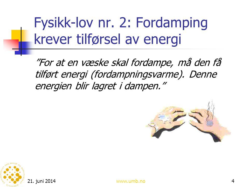 Fysikk-lov nr. 2: Fordamping krever tilførsel av energi