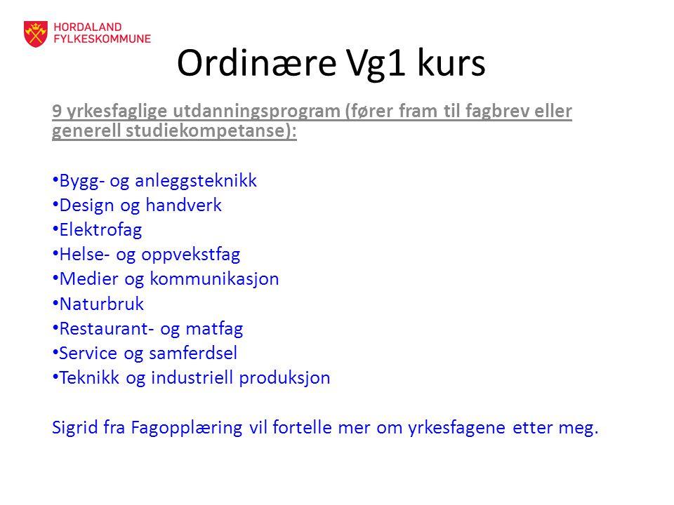 Ordinære Vg1 kurs 9 yrkesfaglige utdanningsprogram (fører fram til fagbrev eller generell studiekompetanse):