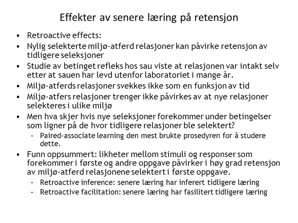 Effekter av senere læring på retensjon