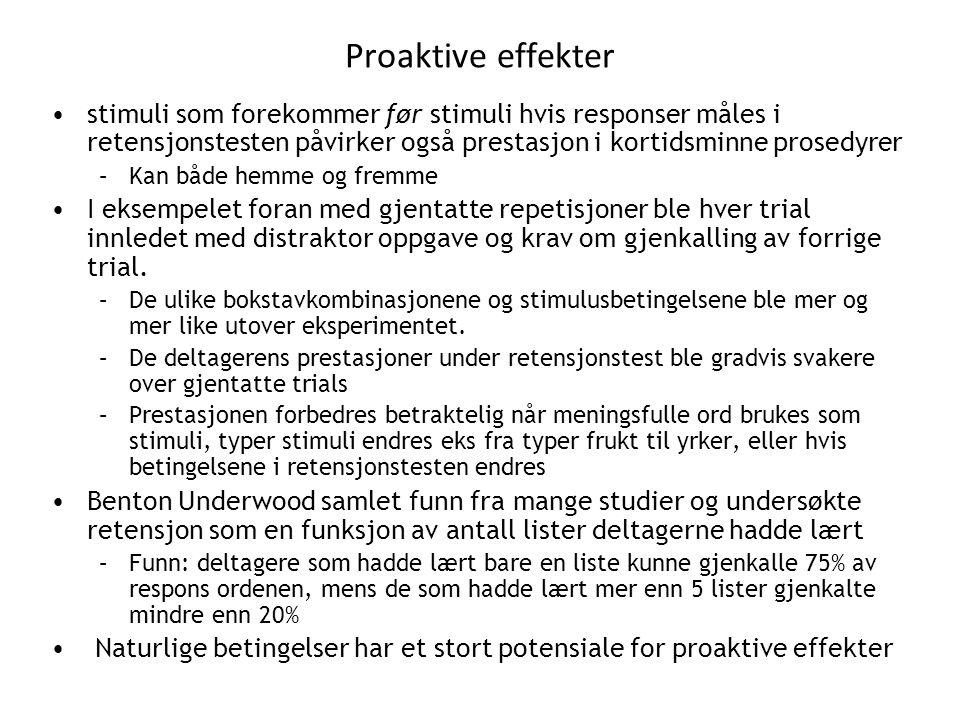 Proaktive effekter stimuli som forekommer før stimuli hvis responser måles i retensjonstesten påvirker også prestasjon i kortidsminne prosedyrer.