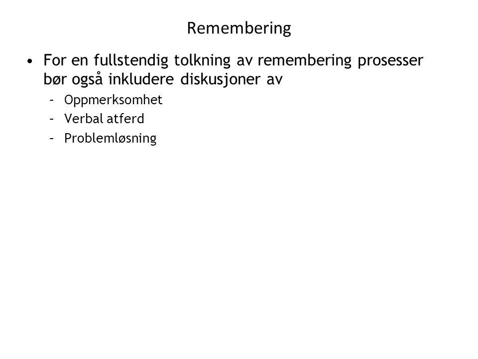 Remembering For en fullstendig tolkning av remembering prosesser bør også inkludere diskusjoner av.