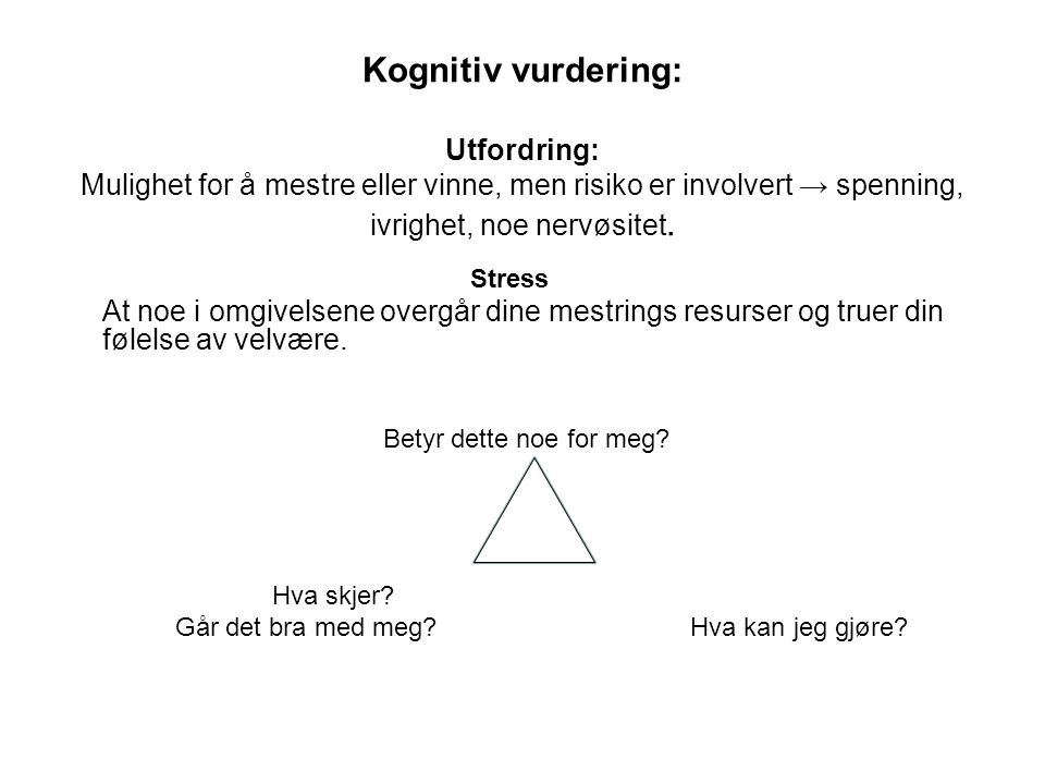 Kognitiv vurdering: Utfordring: Mulighet for å mestre eller vinne, men risiko er involvert → spenning, ivrighet, noe nervøsitet.