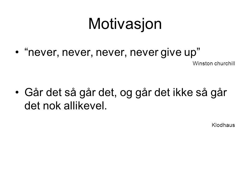 Motivasjon never, never, never, never give up