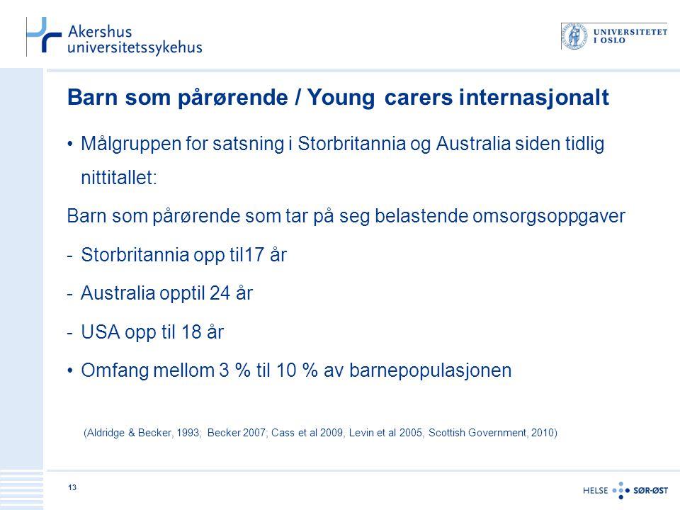 Barn som pårørende / Young carers internasjonalt