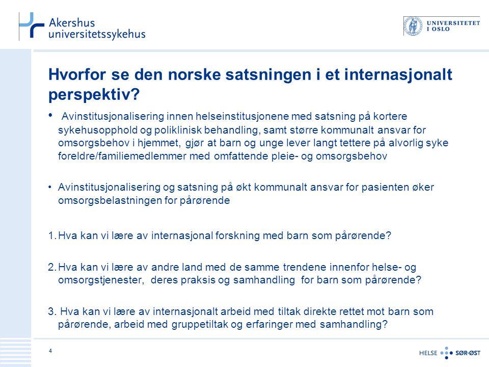 Hvorfor se den norske satsningen i et internasjonalt perspektiv