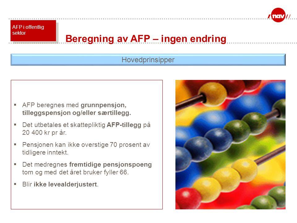 Beregning av AFP – ingen endring