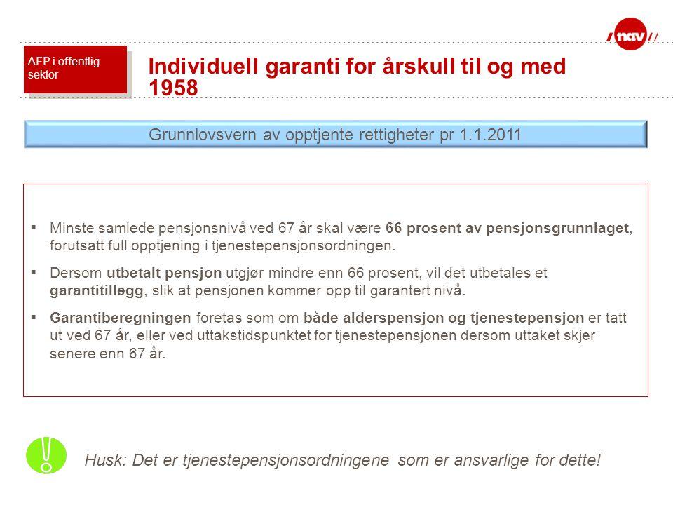 Grunnlovsvern av opptjente rettigheter pr 1.1.2011