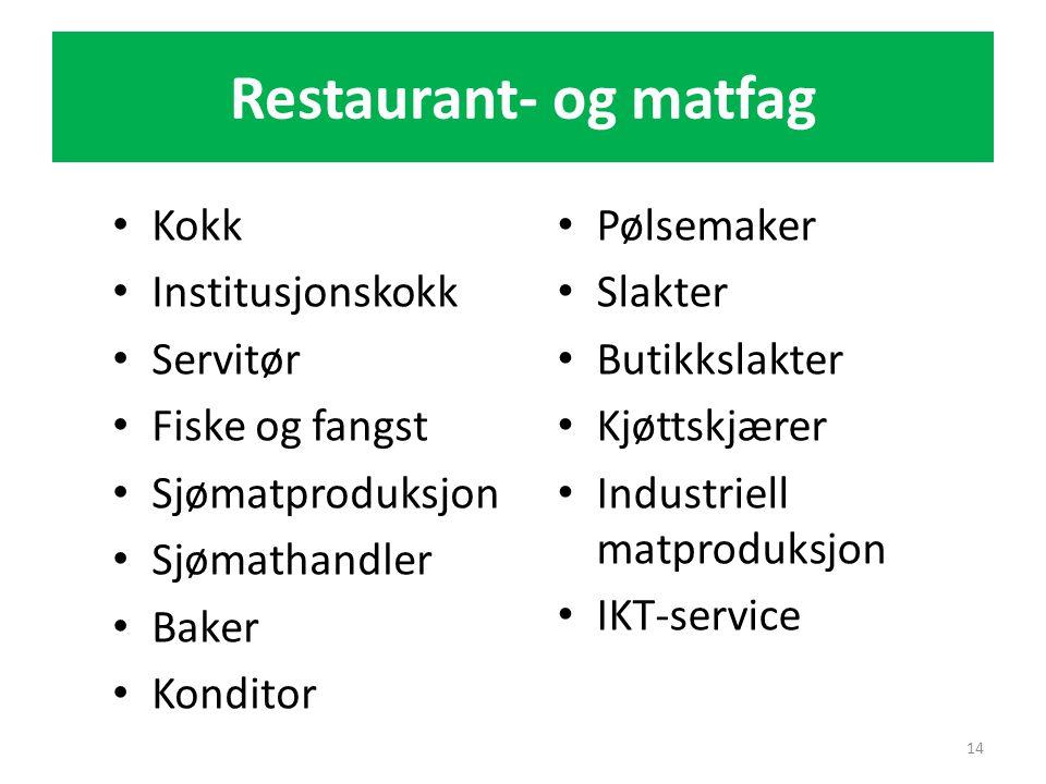 Restaurant- og matfag Kokk Institusjonskokk Servitør Fiske og fangst