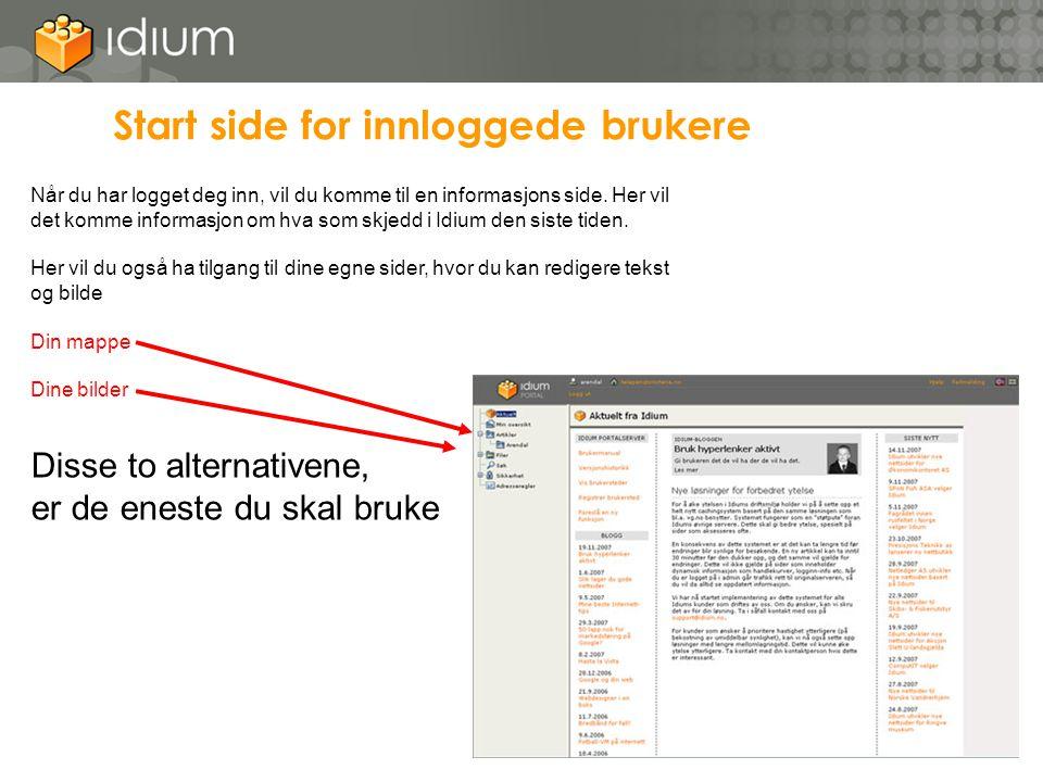 Start side for innloggede brukere