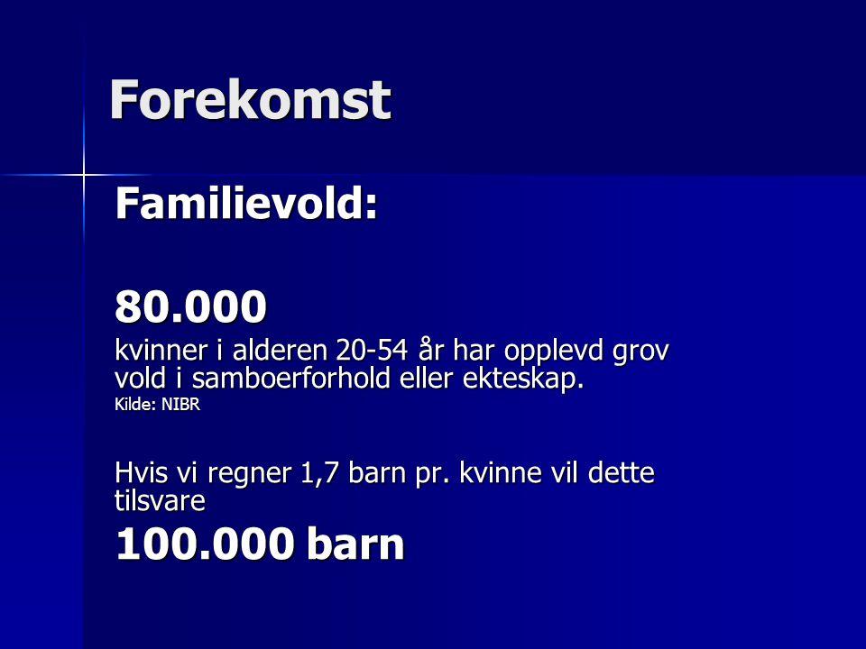 Forekomst Familievold: 80.000 100.000 barn