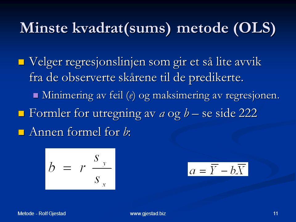 Minste kvadrat(sums) metode (OLS)