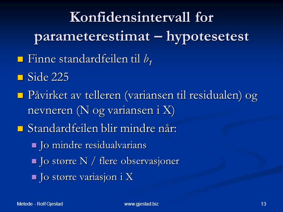 Konfidensintervall for parameterestimat – hypotesetest