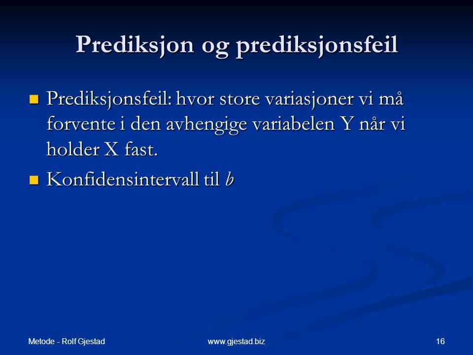 Prediksjon og prediksjonsfeil