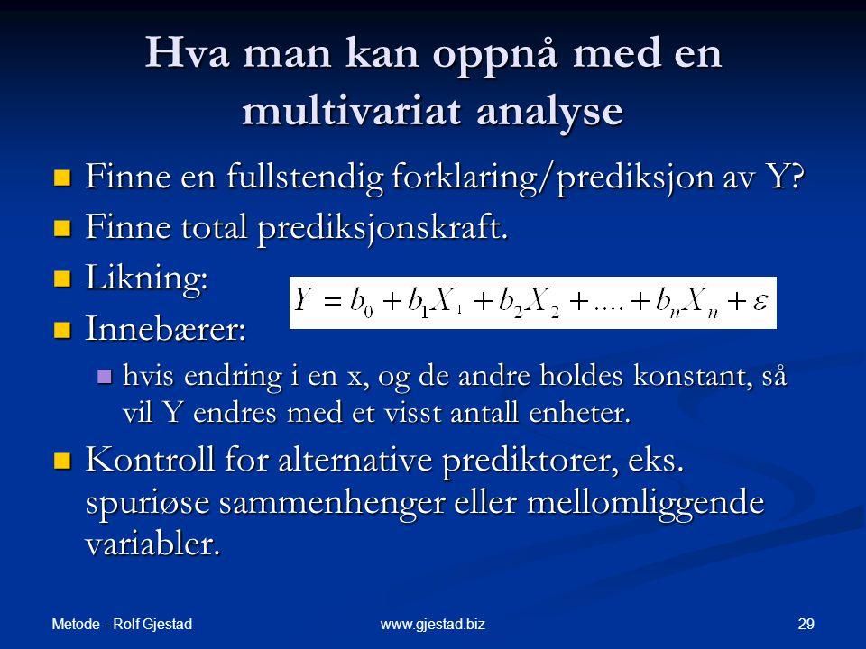 Hva man kan oppnå med en multivariat analyse