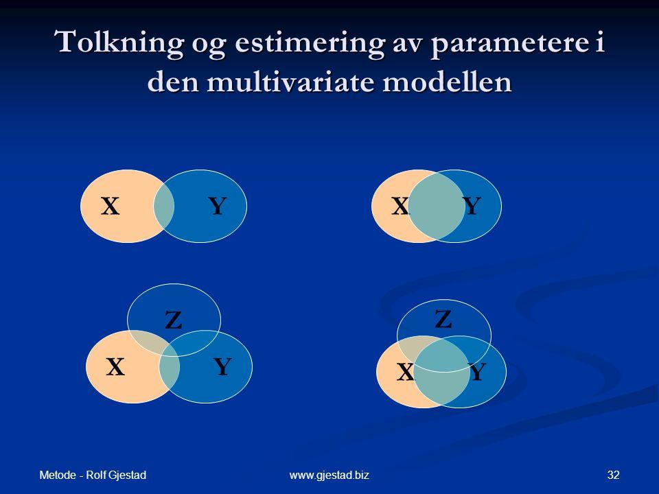 Tolkning og estimering av parametere i den multivariate modellen