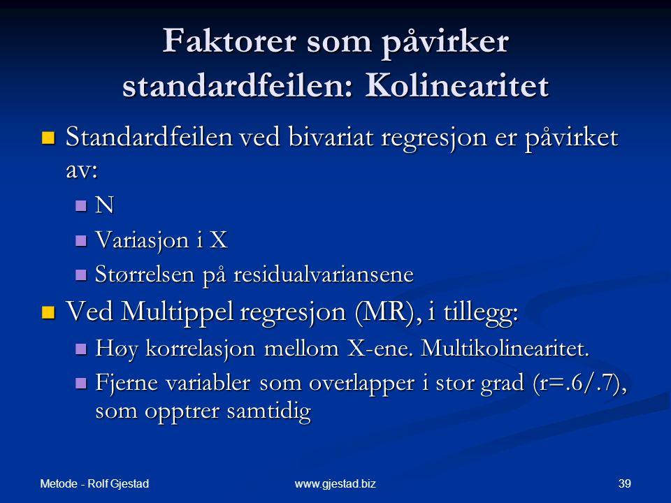 Faktorer som påvirker standardfeilen: Kolinearitet