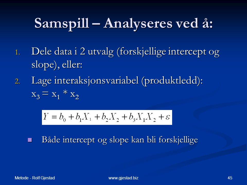 Samspill – Analyseres ved å: