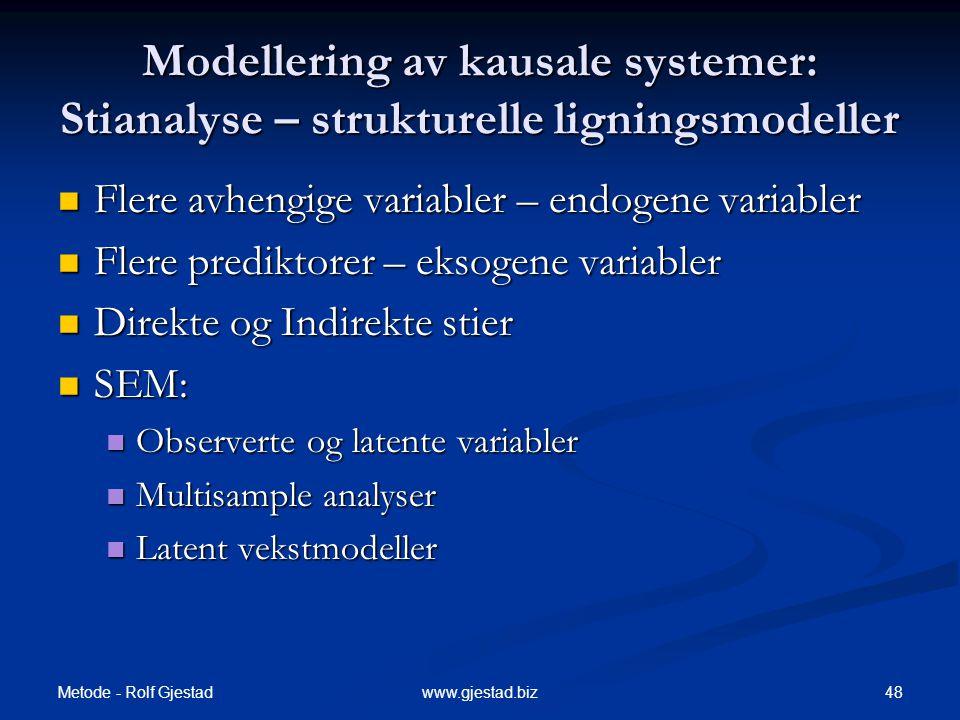 Modellering av kausale systemer: Stianalyse – strukturelle ligningsmodeller