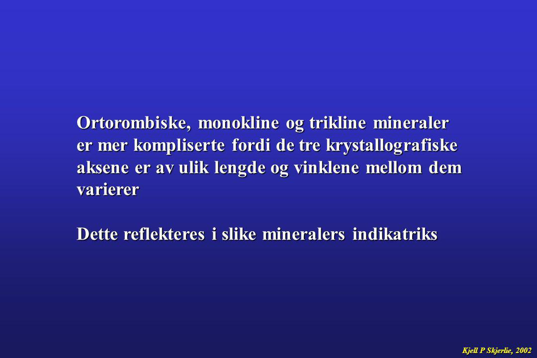 Ortorombiske, monokline og trikline mineraler
