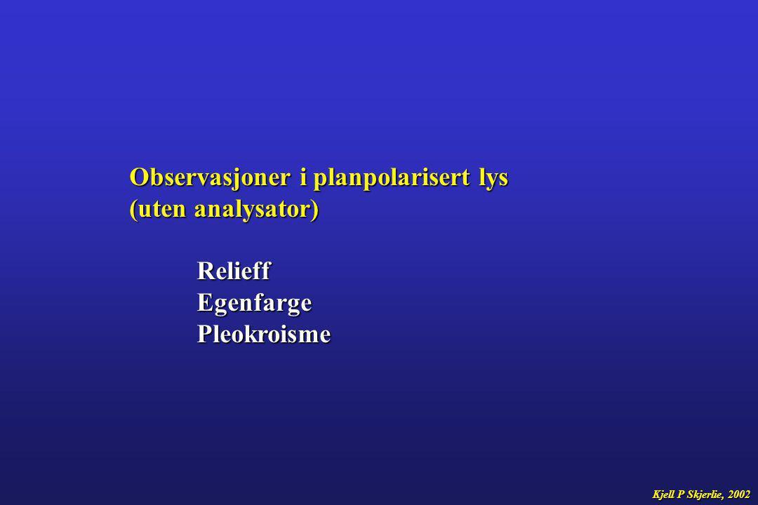 Observasjoner i planpolarisert lys (uten analysator) Relieff Egenfarge