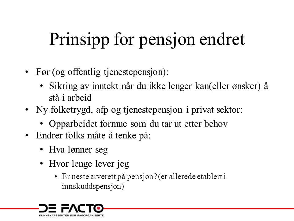 Prinsipp for pensjon endret