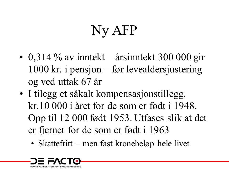 Ny AFP 0,314 % av inntekt – årsinntekt 300 000 gir 1000 kr. i pensjon – før levealdersjustering og ved uttak 67 år.