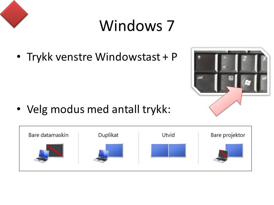 Windows 7 Trykk venstre Windowstast + P Velg modus med antall trykk: