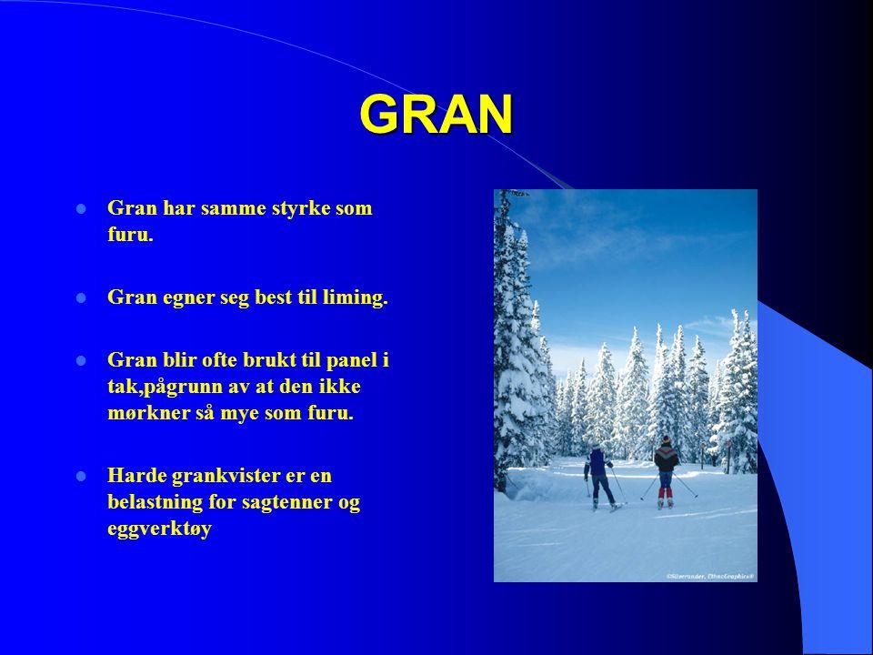 GRAN Gran har samme styrke som furu. Gran egner seg best til liming.