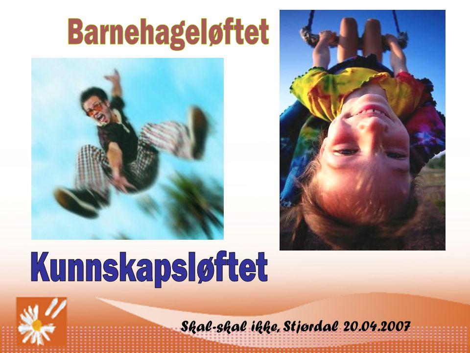 Barnehageløftet Kunnskapsløftet Skal-skal ikke, Stjørdal 20.04.2007