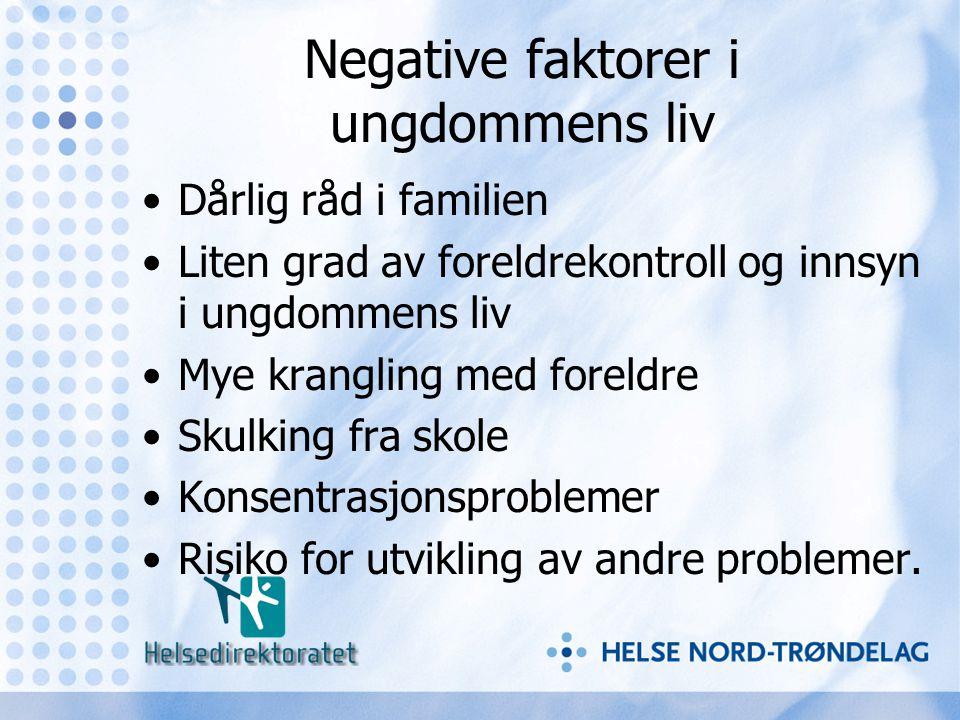 Negative faktorer i ungdommens liv