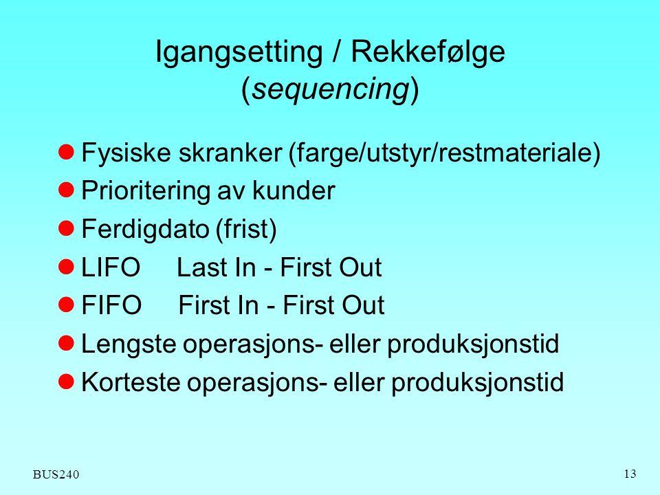 Igangsetting / Rekkefølge (sequencing)