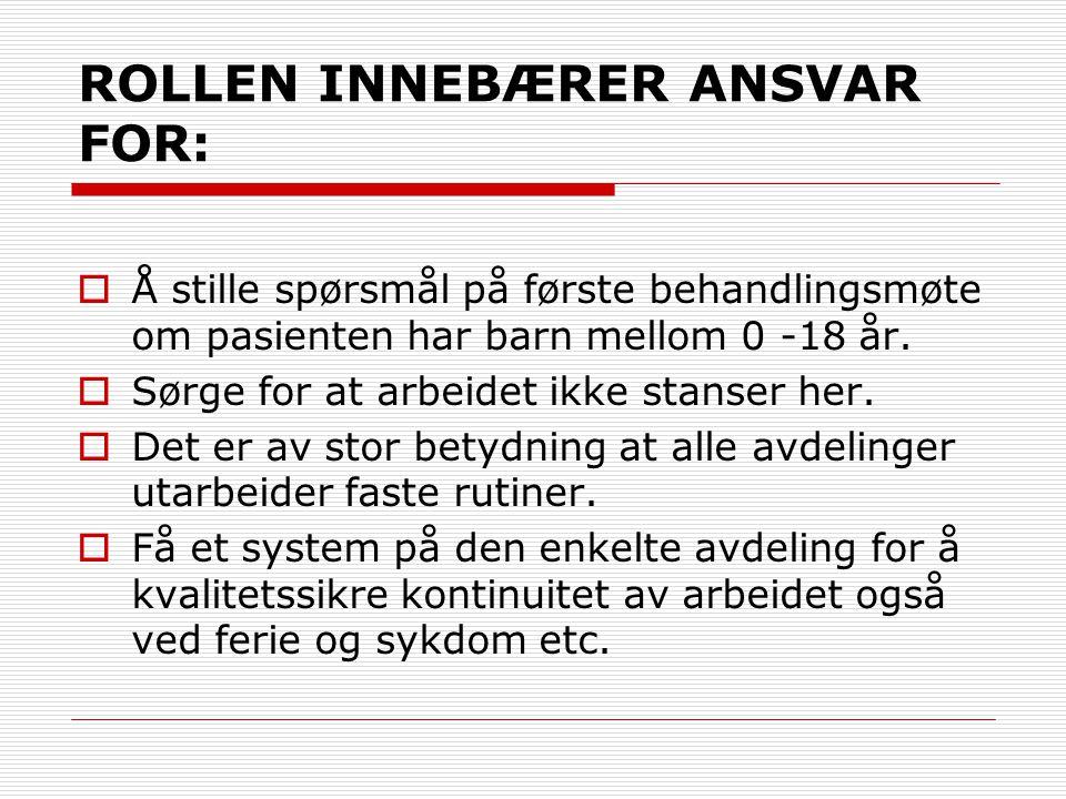 ROLLEN INNEBÆRER ANSVAR FOR: