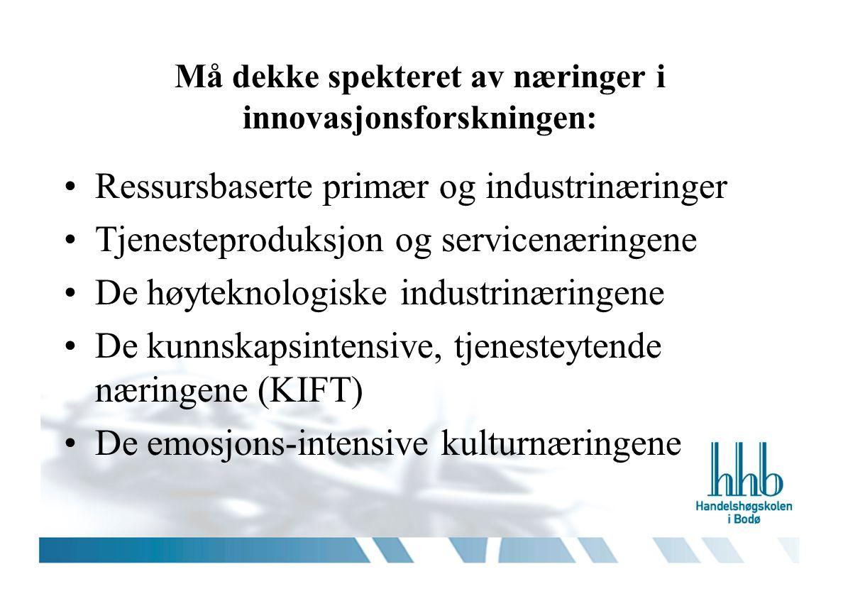 Må dekke spekteret av næringer i innovasjonsforskningen: