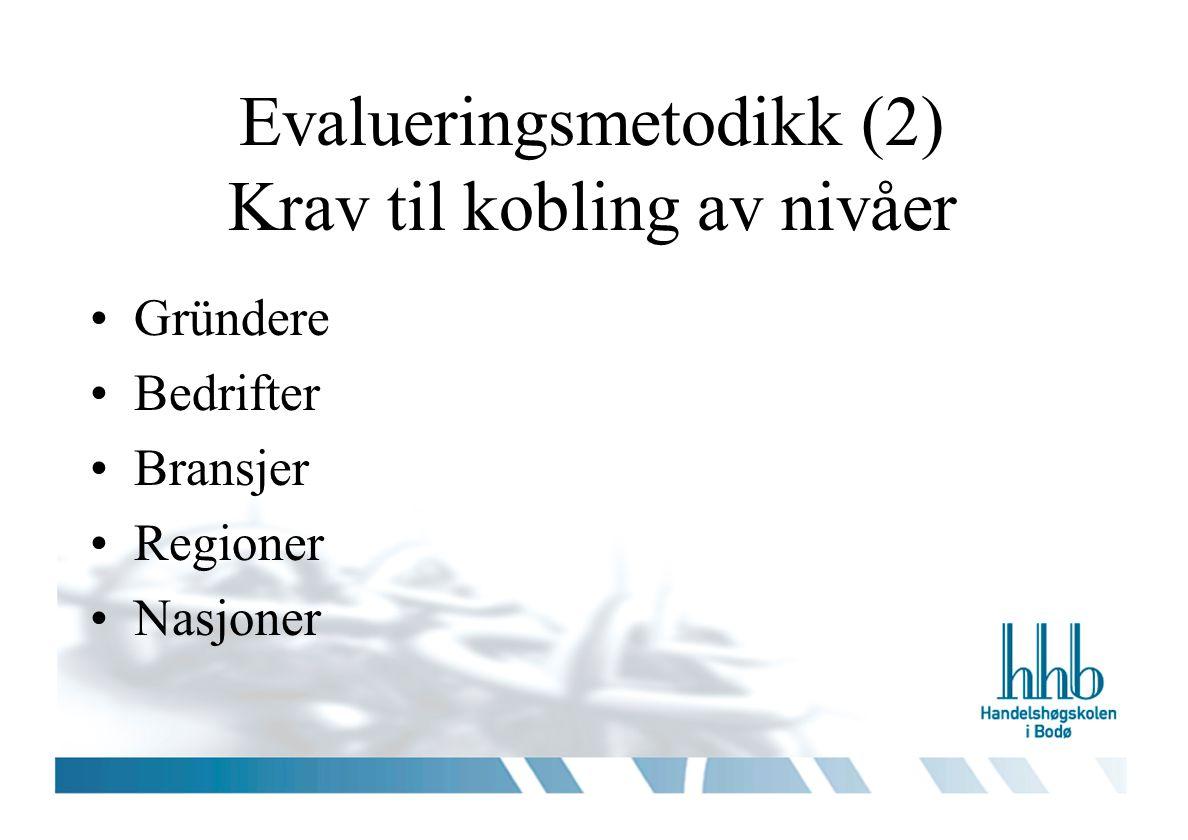 Evalueringsmetodikk (2) Krav til kobling av nivåer