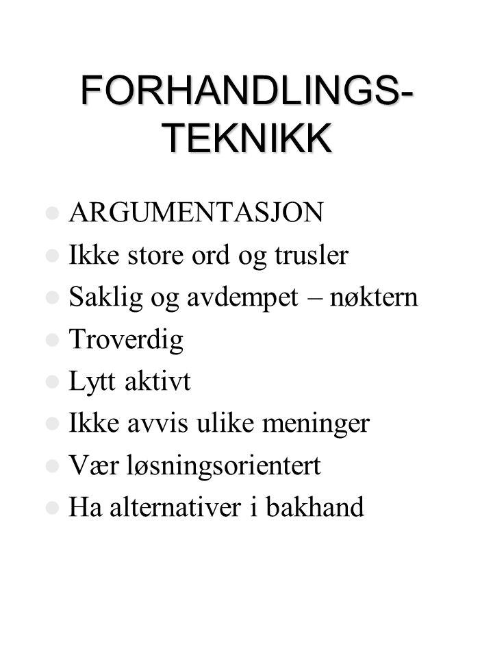 FORHANDLINGS- TEKNIKK
