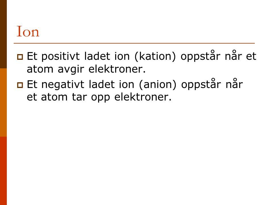 Ion Et positivt ladet ion (kation) oppstår når et atom avgir elektroner.