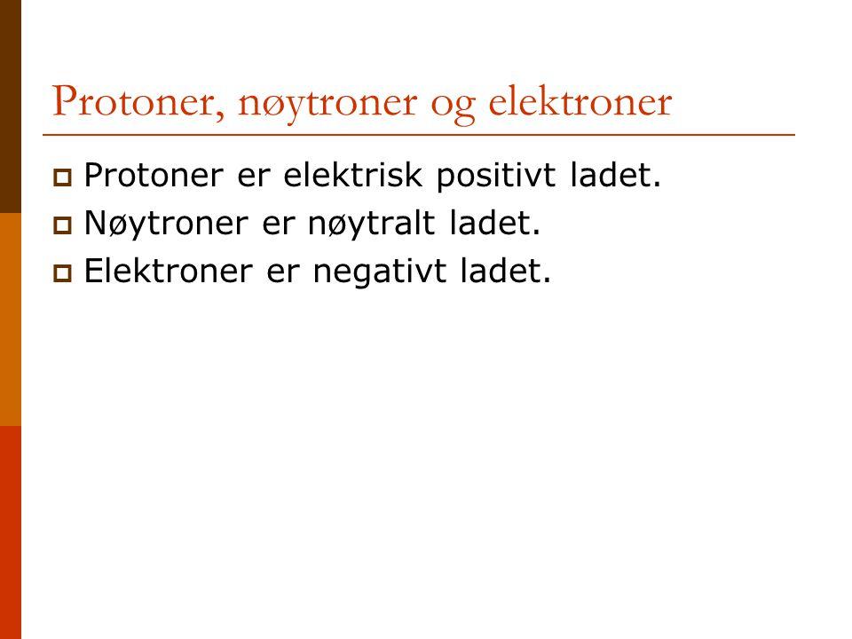 Protoner, nøytroner og elektroner