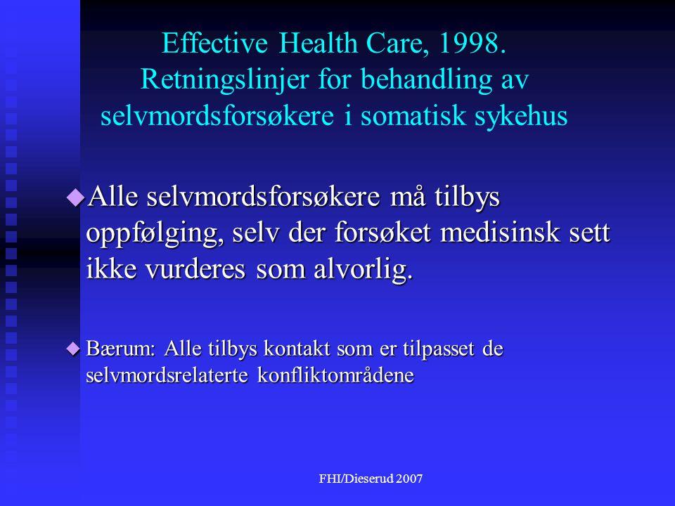 Effective Health Care, 1998. Retningslinjer for behandling av selvmordsforsøkere i somatisk sykehus