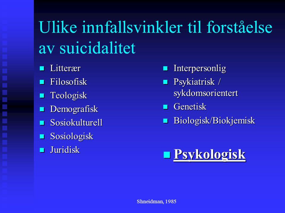 Ulike innfallsvinkler til forståelse av suicidalitet